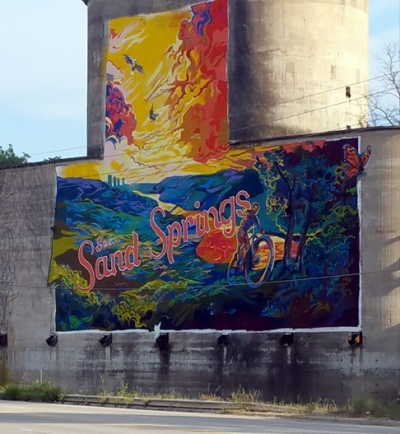 Riverview RV Park, Sand Springs, Oklahoma - Mural on the old grain mill
