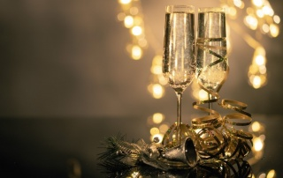Close up of two flute glasses filled with sparkling wine